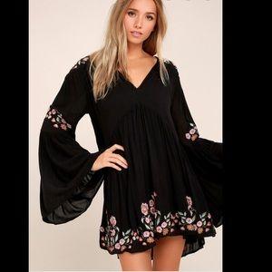 Free People Black Embroidered Mini Dress